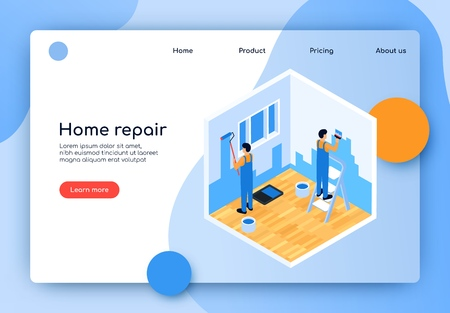 Vector Illustration is Written Home Repair Flat. Two Men Builder Make Repairs in Apartment. Plasterer and Painter Make Redecorating House. Plastering Work in Room. Landing Page Isometric. Иллюстрация