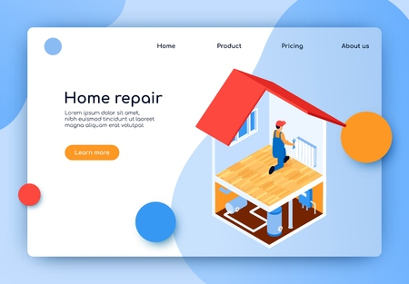 Isometric Lettering Home Repair Landing Page. Laying Complex Engineering Communications. Man Installs or Repairs Battery Apartment. Installation Electrical and Plumbing Devices in Apartment.
