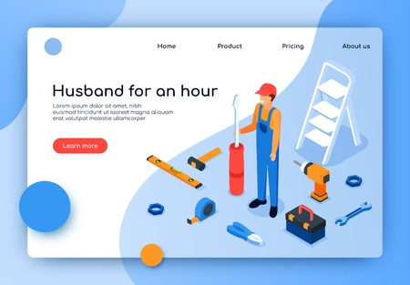Vector Illustration is Written Husband for an Hour. Joyful Man in Working Clothes Holding Screwdriver. Services Carpenter, Electrician, Plumbing. Call  Master on House for Small Household Repairs.
