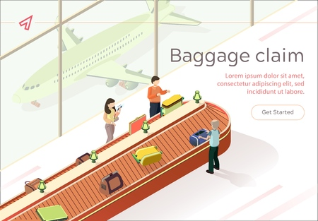 Flat Illustration Baggage Claim Collect Luggage. Baggage Claim at Airport. Men and Women Receive Luggage Upon Arrival at their Destination. Baggage Claim Area, Conveyor Belts are Located.