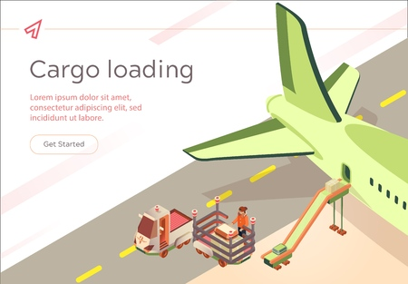 Vector Banner Cargo Loading Flight Preparation. Passenger Compartment Aircraft is Filled with Passengers Luggage. Male Airport Worker on Loader Unloads Suitcases from an Airliner, Isometric. Ilustração