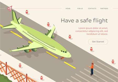 Flat Have Safe Flight Runway Strip Isometric. An Airport Official Points Out Action Pilot on Runway. Plane is Preparing for Rage on Airport Strip. Vector Illustration Landing Page.