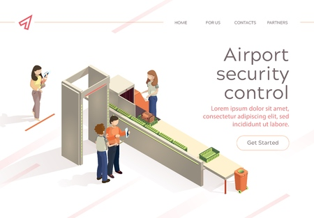 Flat Vector Airport Security Control Baggage Check. Control Aviation Security in Airport Building. Woman and Man at Airport are Inspecting Baggage Passengers using Special Equipment. Vektorové ilustrace