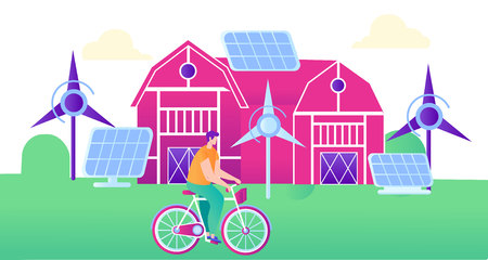 Green Energy for Smart Farm Flat Illustration. Safe Green Energy for Agriculture. Windmills, Solar Panel Generates Electricity for Smart Farm.  Against Background Farm Man Riding Bicycle.