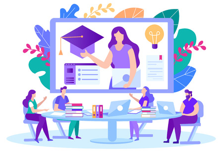 Certificate at end Distance Courses Illustration. Men and Women Sitting Table and Coming up with New Educational Program for Remote Training Students. On Screen Girl Student Talks. Illustration