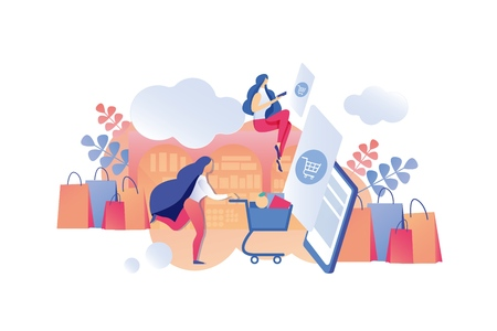 Illustration Mobile Application Sales Information. Advertising Poster Women will be Shopping Mall. Girl with Cart Runs for Goods Store. Woman Looks Availability Discounts Application.