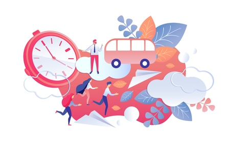 Duration and Regularity Control Working Time. Men and Women Rush to Bus. Vector Illustration on White Background. Comparison Actual use Time During Day and Week with Planned. Cartoon Flat.