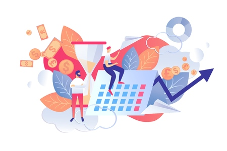 Vector Illustration Control Time and Plans Flat. Checking Plans and Priorities Day in Terms their Implementation. Men on Background Dated Calendar and Hourglass. Consideration Goals. Illustration