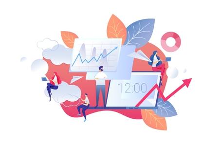 Ilustración vectorial Cambio en el modo de oficina de dibujos animados. Computadoras portátiles de trabajo para hombres y mujeres. Cambio en la productividad laboral a la hora del almuerzo. Centrándose en lo más importante y esencial. Delegación de Posibilidad. Ilustración de vector
