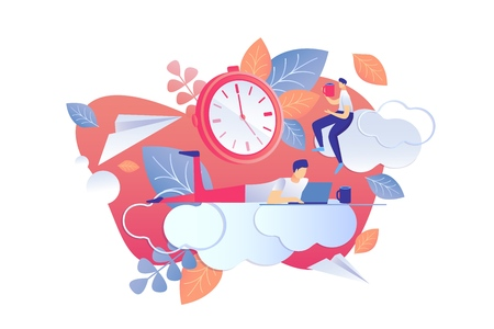 Performing Scheduled Tasks Vector Illustration. Delineation Goals, Responsibilities and Competencies among Employees. Men Work with Coffee Break. Comparison Planned with Achieved Cartoon.