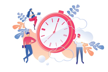 Productive Professional Activity Time Management. Vector Illustration on White Background. Foreground is Clock. Men and Women Work within Constraints Deadlines for Delivery Project.