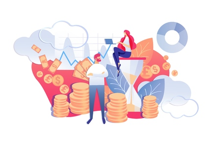 Vector Illustration Process Continuity Saves Time. Woman Sitting on Hourglass. Man Stands Background Money. Time Management for Preparatory, Planned or Routine Activities. Cartoon Flat. Ilustração