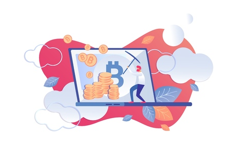 Cryptocurrency Technical Analysis Tools Cartoon. Man with Pickaxe his Hands gets Gold Coin. Tool for Mining Cryptocurrency. Service for Investor, Trader, Analyst and other Market Participants. Illusztráció