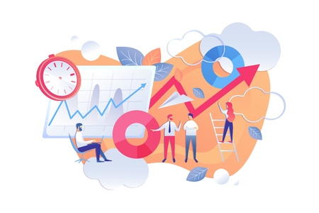 Methods Statistical Data Analysis Cartoon Flat. Employees Work Review Project Growth Figures. Woman Climbed Ladder and Lifted up arrow. Team Work Collection and Processing Data Internet. Ilustração
