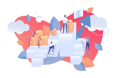 Flat Calculation Degree Risk in Monetary Terms. Man and Woman go up Ladder. Bos Man Stands on Top, around Money. Economic Analysis Interest Rates. Vector Illustration on White Background.