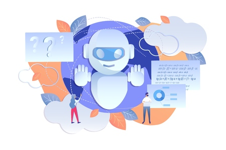Analysis Enterprise using Artificial Intelligence. Men and Women use Data Processed Artificial Intelligence. Vector Illustration on White Background. Intelligent Machine Helps People Speed Work.