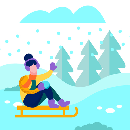 Winter Vacation Activity Banner Happy Woman Sledding in Forest under Snow Cartoon Card Landscape Snowy Flat Vector Illustration Girl in Warm Clothes Rolling Downhill on Sled Outdoors Wintertime