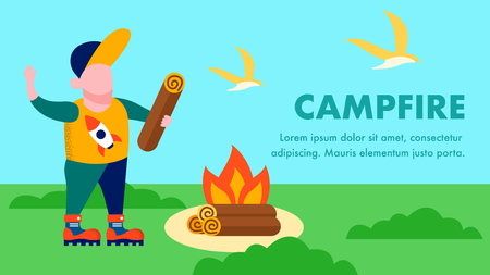 Campfire Landing Page with Place for Text and Cartoon Boy Holding Log Make Bonfire Instruction Travel Agency Homepage Vector Fire Danger Warning Illustration Outdoors Activities Family Recreation