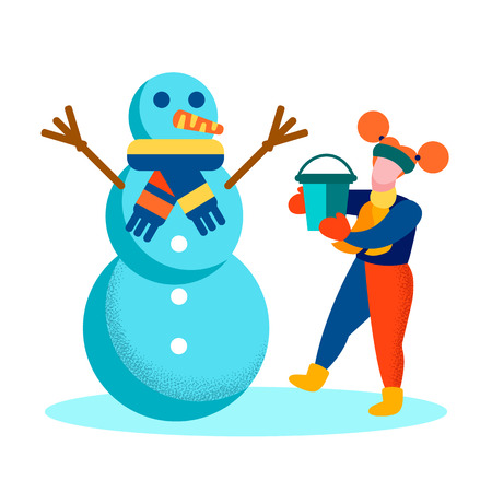 Cartoon Girl and Snowman Happy Wintertime Flat Motivation Card Winter Games Recreation Outside Vector Isolated Illustration Enjoy Outdoor Activities Having Fun Active Holidays Good Childhood Memories