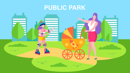 Public Park Advertisement Banner with Promo Text in Cartoon Style Vector Illustration Mother Walking Baby in Stroller Girl Skating Rollers City Leisure for Population Offer Recreation on Fresh Air Ilustração