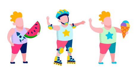 Children Active Recreation and Tasty Snack Outdoors Flat Card Boys Skating Rollers Eating Watermelon and Ice Cream Outside Vector Isolated Illustration Promotional Banner Summer Advertisement Иллюстрация