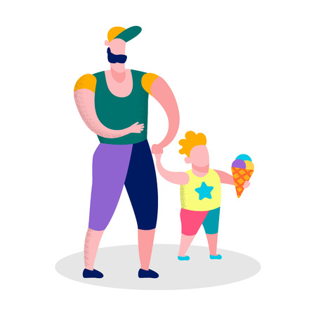 Cartoon Vector Father and Son Walking Boy Eating Ice-cream Isolated Illustration Happy Family Day Outdoors Recreation Motivational Flat Banner Lovely Parenting Holiday Time with Children on Fresh Air