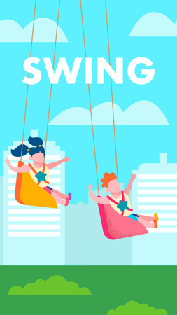 Children on Swing Outdoors Recreation Text Vertical Motivate Banner Flat Vector Cartoon Characters Swinging on City Park Landscape Girl and Boy Having Fun Happy Family and Childhood Illustration