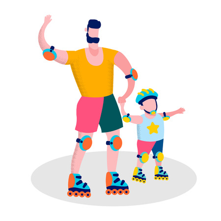 Happy Fathers Day Family Sport Recreation Flat Cartoon Motivational Banner Daddy and Son in Protective Accessories Helmet Skating Rollers Vector Isolated Illustration Active Fresh Air Outdoors Leisure