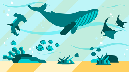 Underwater World Aquamarine Life Flat Abstract Banner Vector Design Illustration with Swimming Marine Animals Whale Fish Hammer Shark Manta Ray Aquarium Excursion Ocean Landscape with Seaweed and Sand