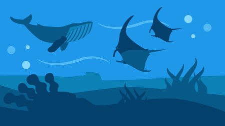 Ocean Wildlife Nature Panoramic Flat Style Banner Swimming Silhouettes of Whale and Manta Rays. Marine Animals and Underwater World Vector Seascape with Seaweed on Sand Cartoon Illustration Illustration