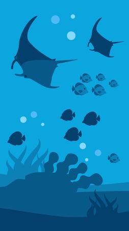 Unterwasserwelt Vertikales blaues Banner für mobile Anwendung Flache Tapete Meerblick Panorama mit Silhouetten von Schwimmschwärmen von Fischen und Mantarochen Vector Marine Living Illustration