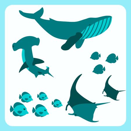 Schöne Meerestiere Rahmen Banner Vektor Kunst Stil Design Schwimmen Wal Fisch Hammer Hai Manta Ray Reise Erholung Ozean Meereswelt Flache Illustration Weiß Aqua Hintergrund Urlaub Cartoon