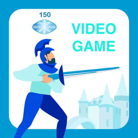 Knight Holding Sword, Weapon Cartoon Character. Videogame in Middle Ages Social Media Banner. Fantasy MMO Advertising. Ancient Military Soldier. Warrior Flat Vector Illustration with Typography  イラスト・ベクター素材
