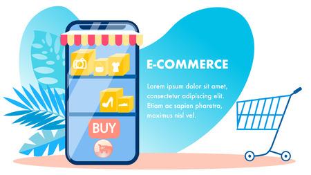 E-commerce, modello di banner vettoriale per lo shopping online. Negozio Internet, pubblicità sulla rete di vendita al dettaglio. Smartphone, carrello, foglie di Monstera e composizione del testo. Illustrazione piana del negozio mobile con Copyspace