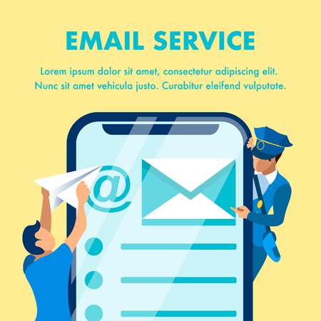 Email Marketing Service Banner Vector Template. Man with Paper Plane and mailman Cartoon Characters. Mail Application Interface on Smartphone Screen. SMM Business Illustration with Text Space Ilustração