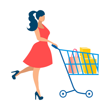 Happy Lady on Shopping Flat Vector Illustration. Woman in Red Dress Faceless Cartoon Character. Shopaholic with Bags, Purchases in Cart. Satisfied Customer, Consumer. Consumerism, Retail Service