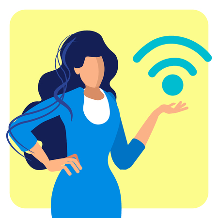 Free Wifi Zone, Public Access Flat Illustration. Businesswoman in Formal Dress Faceless Cartoon Character. Wireless Internet Technology. Hotspot, Strong Signal Area. Online Network Connection