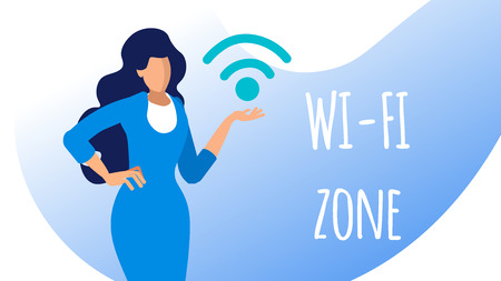 Wifi Zone, Public Access Area Flat Banner Concept. Businesswoman in Formal Dress Cartoon Character. Woman with Wireless Internet Emblem. Online Technology Vector Illustration with Typography