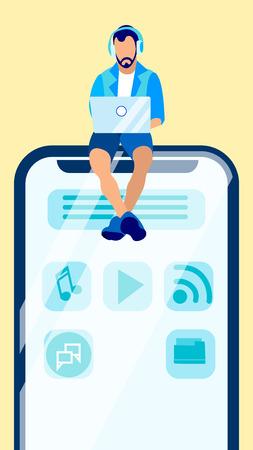 Web Designer, Freelancer Flat Vector Illustration. Student in Headphones, Social Media Network User Cartoon Character. Programmer Creating Mobile Application Interface. UI Developer, Remote Job