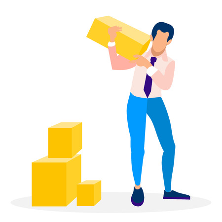 Businessman Holding Block Flat Vector Illustration. Business Development, Software Engineering Metaphor. Man in Formal Clothing Carrying Boxes Cartoon Character. Loader, Porter Occupation