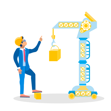Construction Site Inspector Vector Illustration. Architect, Foreman in Hardhat Giving Orders Cartoon Character. Industrial, Lifting Crane, Heavy Machinery, Equipment. Building Business, Industry
