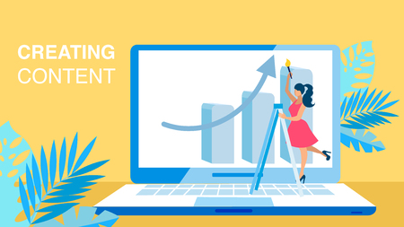 Content Creating, SMM Flat Vector Banner Concept. Woman on Ladder Holding Paintbrush Cartoon Character. Business Analysis, Marketing Strategy Development. Laptop, Leaves Illustration with Typography