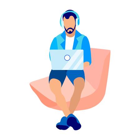 Développeur Web, Illustration vectorielle plane de programmeur. Jeune codeur, pigiste en personnage de dessin animé de casque. Concepteur travaillant avec un ordinateur portable, écoutant de la musique. Travail à distance, Éducation, Lieu de travail à domicile