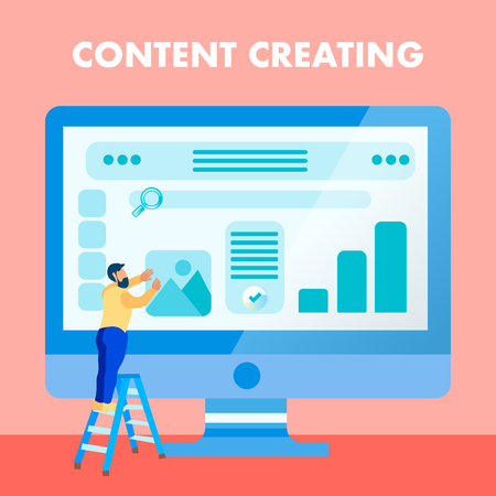 Website Content Creating Flat Social Media Banner. Developer on Ladder Cartoon Character. Web Designer Occupation. Web page User Interface Design. SEO Flat Vector Illustration with Typography