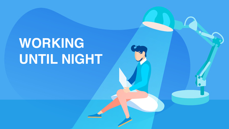 Working Until Night Flat Vector Banner Concept. Young Programmer, Student Studying with Laptop Cartoon Character. Busy Man, Lamp Composition. Overworked Freelancer Illustration with Typography