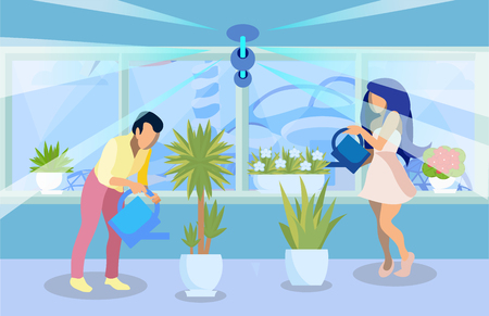 Man, Woman Watering Pot Plants Flat Illustration. Parents, Couple Growing Palm, Flowers in House, Apartment. Cartoon Gardeners Working in Greenhouse. Horticulture Experts Cultivating Herbs Indoors Stock Illustratie