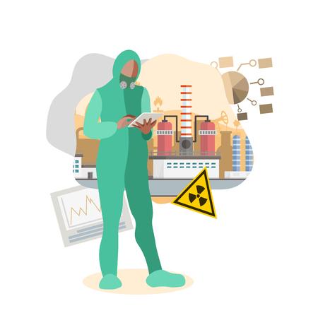 Radioactive Pollution Flat Vector Illustration. Cartoon Man Wearing Protective Uniform, Respirator. Nuclear Contamination Symbol. Factory Worker Analysing Manufacturing Process, Security Measures
