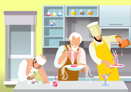 Molecular Gastronomy Flat Vector Illustration. Cartoon Chef, Sous Chef Experimenting with Nano Cuisine. Kitchen Workers Decorating Gourmet Dishes with Herbs, Gravy. Trendy Culinary Innovations Imagens - 123291490