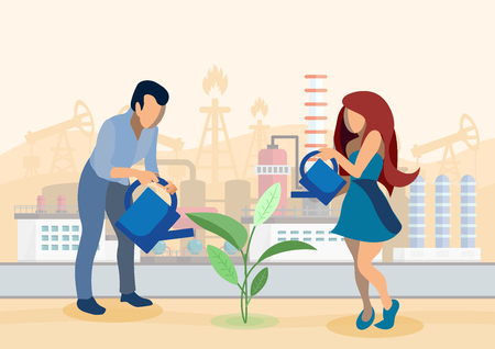 Growing Crops in Industrial Zone Flat Illustration. Cartoon Farmers Watering Seedling, Sprout. Environmental Pollution Problem. Clean Soils for Agricultural Needs, Organic Cultivation