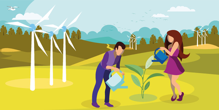 Sustainable Nature Usage Flat Vector Illustration. Windfarm Generating Green Energy. Cartoon Couple, Farmers Growing, Watering Plant. Environment Friendly Agriculture, Horticulture, Gardening  イラスト・ベクター素材